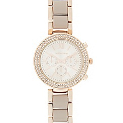 Red Herring - Ladies rose gold plated diamante watch