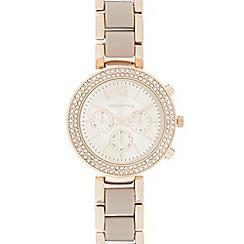 Red Herring - Ladies rose gold plated diamante watch
