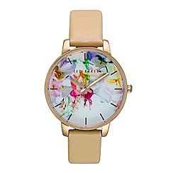 Ted Baker - Ladies floral tan leather strap watch