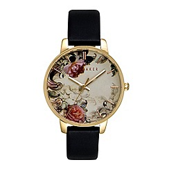 Ted Baker - Ladies floral black leather strap watch