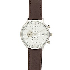 J by Jasper Conran - Dark brown leather chronograph watch