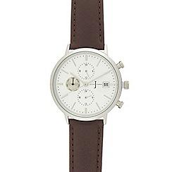 J by Jasper Conran - Dark brown leather chronograph watch