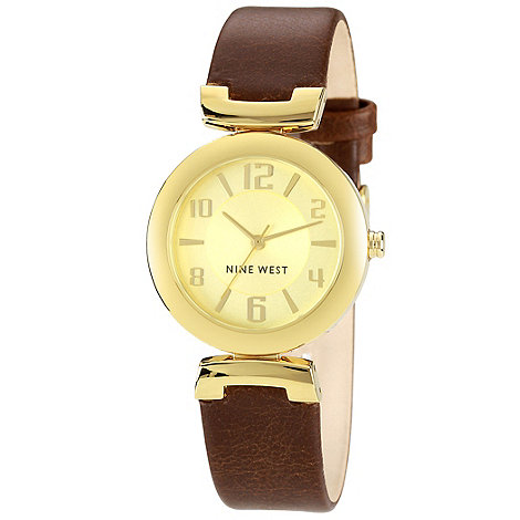 Nine West - Ladies gold round dial strap watch