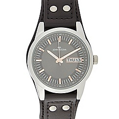 RJR.John Rocha - Black leather date marker watch