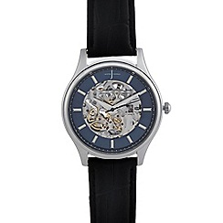 J by Jasper Conran - Men's black skeleton analogue watch