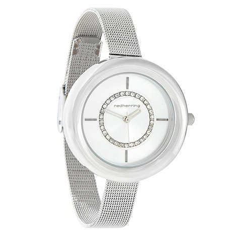 Red Herring - Ladies silver skinny meshed strap watch