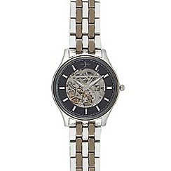 J by Jasper Conran - Men's silver plated skeleton analogue watch