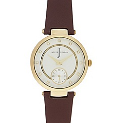 J by Jasper Conran - Ladies' brown leather T-bar watch