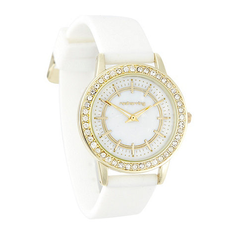 Red Herring - Ladies white diamante case silicone strap watch