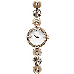 Infinite - Ladies gold plated disc link analogue watch