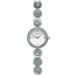Infinite - Ladies silver plated disc link analogue watch