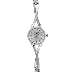 Infinite - Ladies silver plated cross over analogue watch