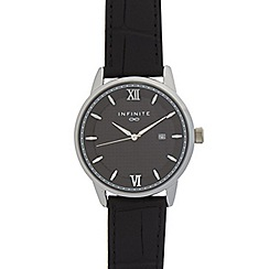 Infinite - Men's black croc-effect watch