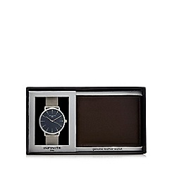 Infinite - Silver mesh watch and wallet set in a gift box