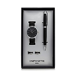 Infinite - Black analogue watch, ball point pen and cufflinks set in a gift box