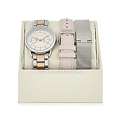 RJR.John Rocha - Silver plated mock multi dial watch with two straps