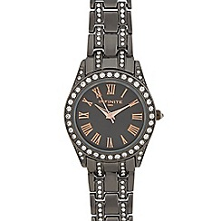 Infinite - Dark grey stone embellished analogue watch