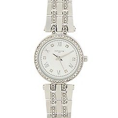 Infinite - Ladies silver plated t-bar analogue watch