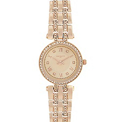 Infinite - Ladies rose gold plated t-bar analogue watch