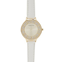 Red Herring - Ladies white stone embellished analogue watch
