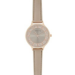 Red Herring - Ladies taupe stone embellished analogue watch