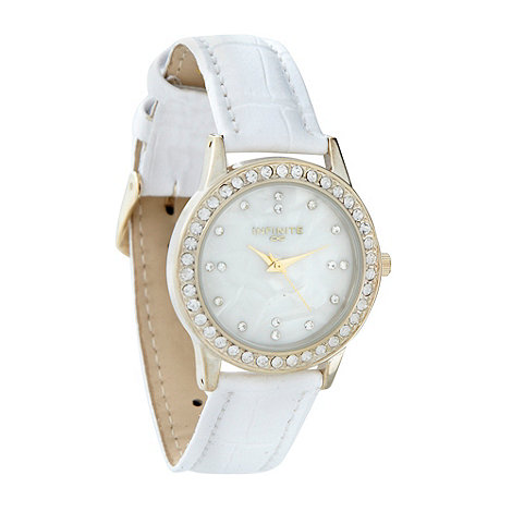 Infinite - Ladies white diamante mock-crocodile strap watch