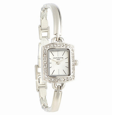 Infinite - Ladies silver pavÐ rectangular case watch
