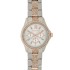 Red Herring - Ladies silver and rose gold crystal diamante watch