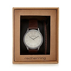 Red Herring - Brown analogue watch and bracelet set in a gift box