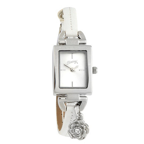 Mantaray - Ladies white skinny faux leather strap watch