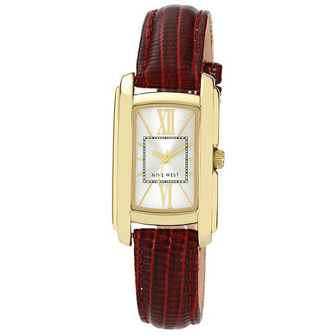 Nine West - Ladies dark red mock snakeskin strap watch