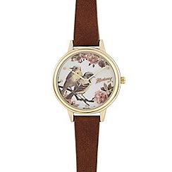 Mantaray - Brown floral bird dial watch