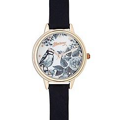 Mantaray - Ladies navy blue floral bird dial watch