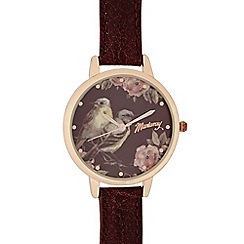 Mantaray - Ladies dark red floral bird dial watch