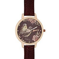 Mantaray - Ladies dark red floral bird dial watch