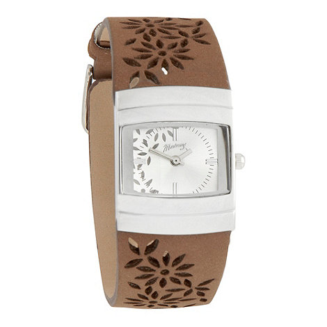 Mantaray - Ladies taupe laser cut flower strap watch