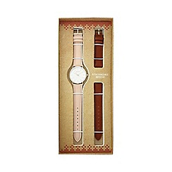 Mantaray - Ladies light pink analogue watch with additional tan strap