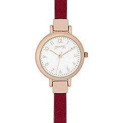 Mantaray - Ladies dark pink and gold analogue watch