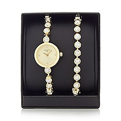 Infinite - Ladies gold plated stone analogue watch