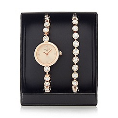 Infinite - Ladies rose gold plated stone analogue watch
