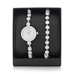 Infinite - Ladies silver plated watch and crystal stone bracelet set