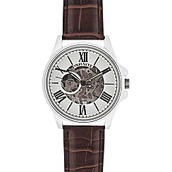Infinite - Men's brown leather skeleton watch