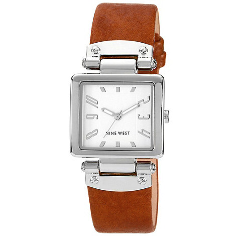 Nine West - Ladies tan square dial strap watch