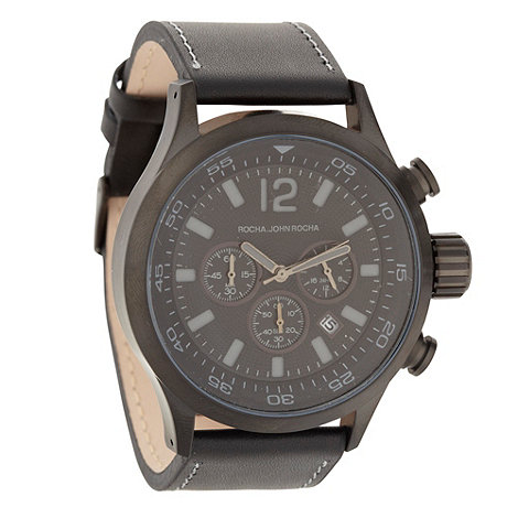 RJR.John Rocha - Men+s black leather strap chunky chronograph dial watch