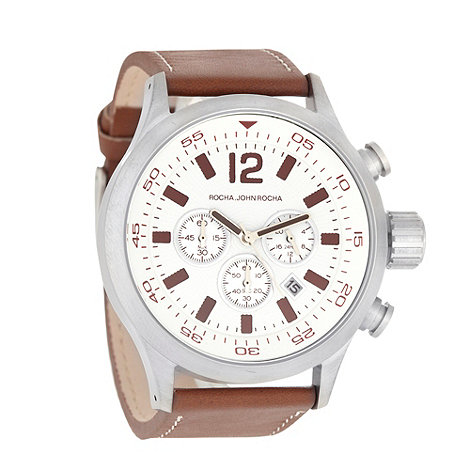 RJR.John Rocha - Men+s brown leather strap chunky chronograph dial watch