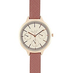 Principles - Ladies pink checked analogue watch