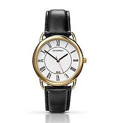 Sekonda - Men's gold and black leather watch 3477