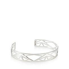 Pilgrim - Silver plated geometric cuff bracelet