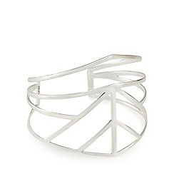 Pilgrim - Silver plated geometric wide cuff bracelet