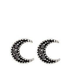 Pilgrim - Silver plated grey half moon stud earrings